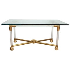 Brass and Glass Python Cocktail Table