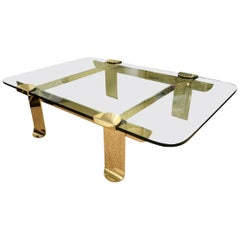 Brass and Glass Sculptural Cocktail Table Italian Vintage