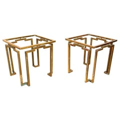 Brass and Glass Sculptural Geometric Side Tables by Arturo Pani Mexico, 1950s