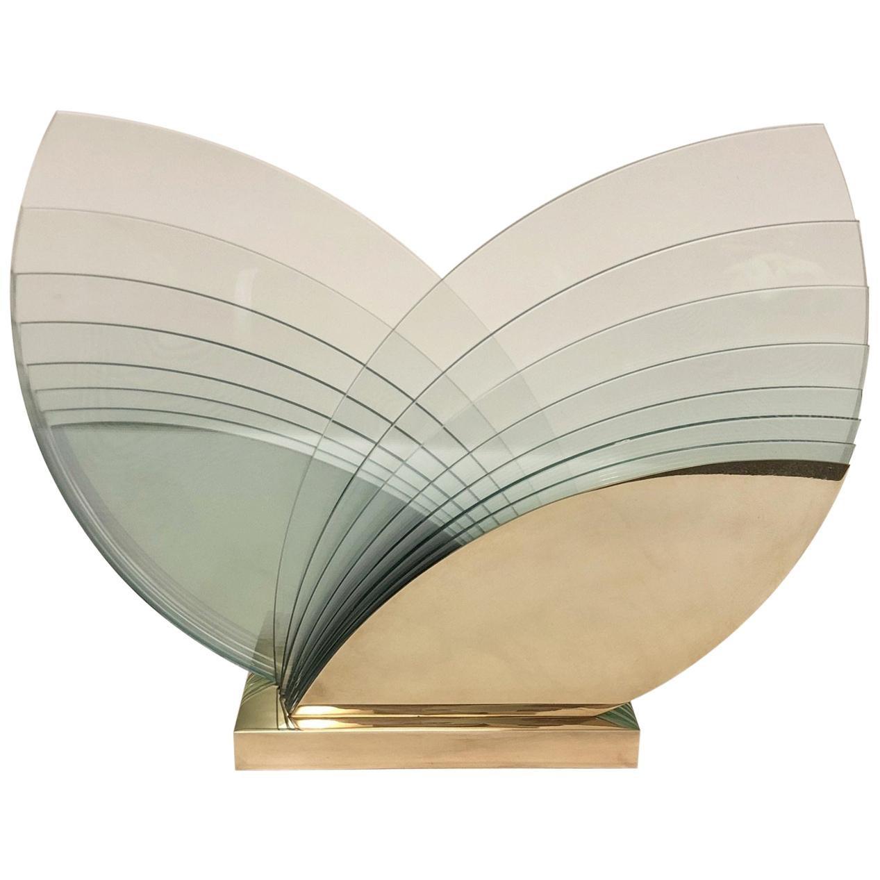 Brass and Glass Sculpture by Runstadler Studios