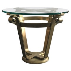 Brass and Glass Side Table in Art Deco Style, 20th Century, European