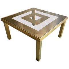 Brass and Glass Square Coffee Table, Italy, 1970s