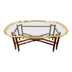 Baker Furniture Brass & Glass Tray Top Cocktail Table on Faux Bamboo Stand