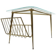 Brass and Glass Triangular Coffee Table, 1950s
