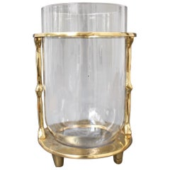 Brass and Glass Vase / Wine Bucket by David Marshall, circa 1970s