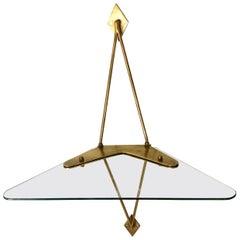 Brass and Glass Wall-Mounted Angle Display Shelf Attributed to Fontana Arte