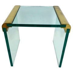 Brass and Glass Waterfall Side Table by Leon Rosen for Pace