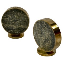 Brass and Granit Salt and Pepper Shakers from Saulo, Norway, 1960s