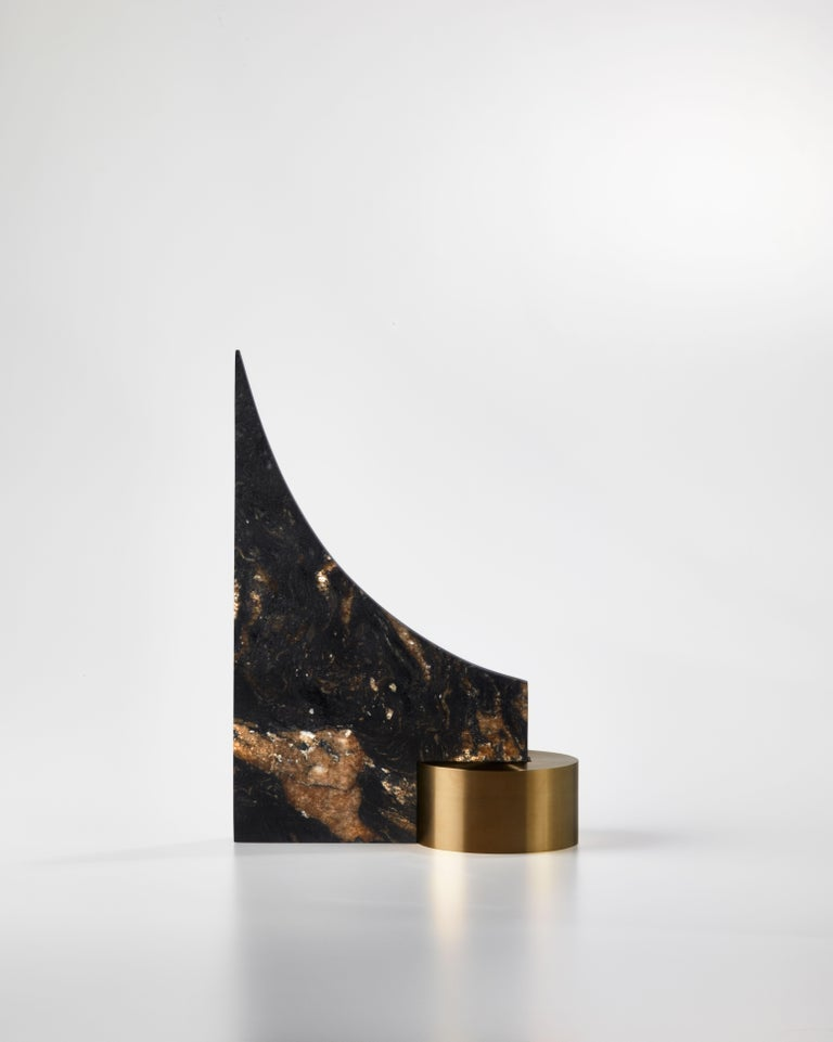 Brass and granite bookend, signed William Guillon
