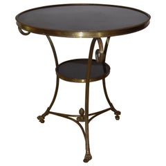 Brass and Granite French Regency Round Entry Table