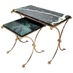 Brass and Green Marble Nesting Tables, 1960s