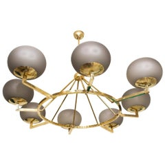 Brass and Grey Opaline Murano Glass Large Modern Chandelier