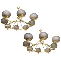 Brass and Grey Opaline Murano Glass Large Modern Chandelier Stilnovo Style