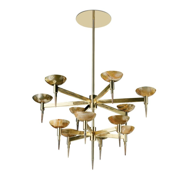 Brass and Horn Chandelier