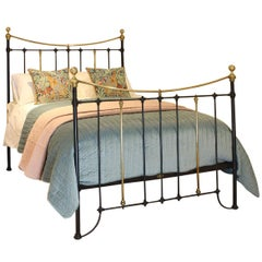 Brass and Iron Antique Bed in Black MK216