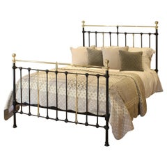 Brass and Iron Antique Bed in Black MK224