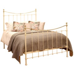 Brass and Iron Antique Bed in Cream MK215