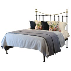 Brass and Iron Antique Platform Bed in Black MK222