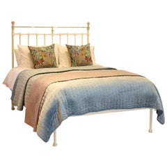 Brass and Iron Antique Platform Bed in Cream MK219