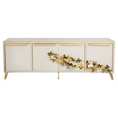 """Brass and Ivory Art Glass with Gold Murano """"Butterfies"""" Sideboard, Italy, 2021"""