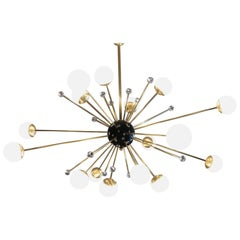 Brass and Lattimo Sputnik Chandelier 16 Lights and Clear Orbs Playing with Light