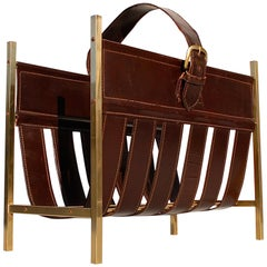 Brass and Leather Adnet Style Magazine Rack, 1960s, France
