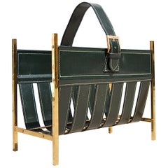 Brass and Leather Adnet Style Magazine Rack, 1960s France