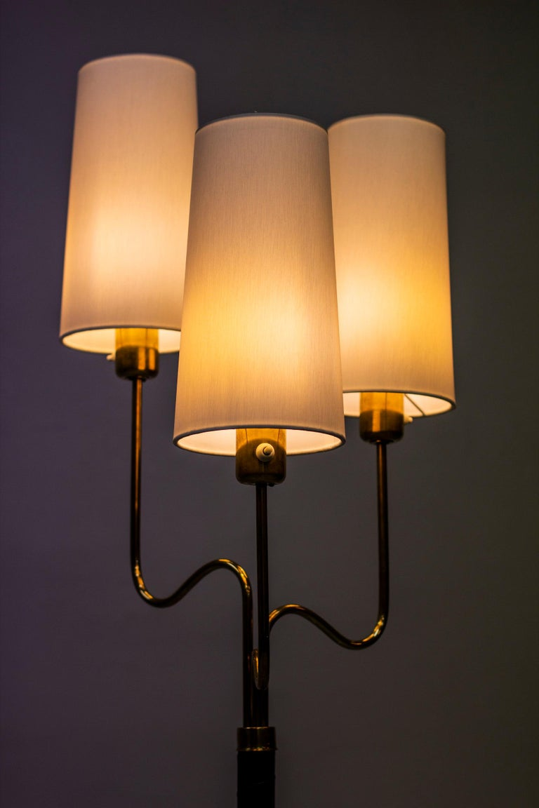 Brass and Leather Floor Lamp by Hans Bergström, Sweden, 1940s 5