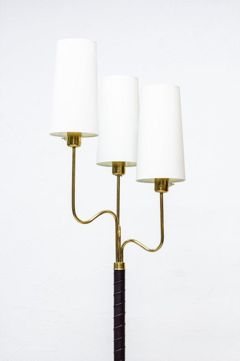 Scandinavian Modern Brass and Leather Floor Lamp by Hans Bergström, Sweden, 1940s