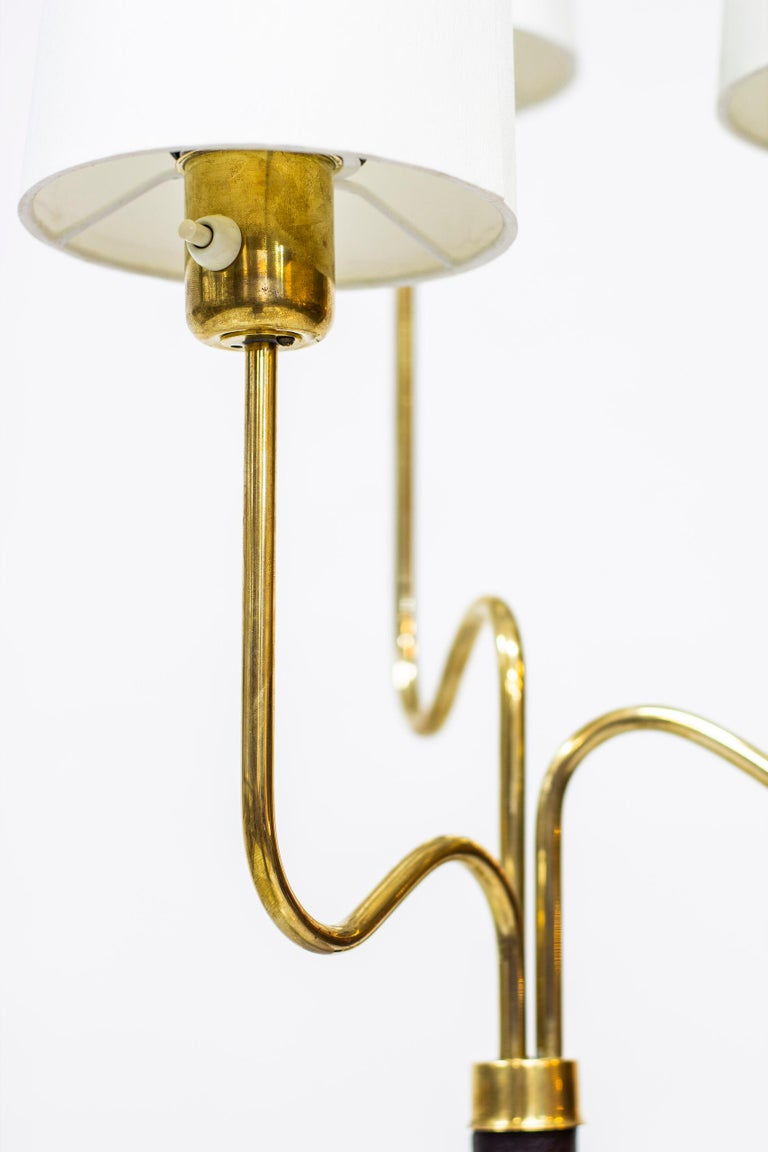 Brass and Leather Floor Lamp by Hans Bergström, Sweden, 1940s In Good Condition In Stockholm, SE