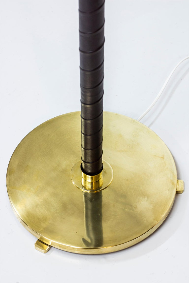 Mid-20th Century Brass and Leather Floor Lamp by Hans Bergström, Sweden, 1940s