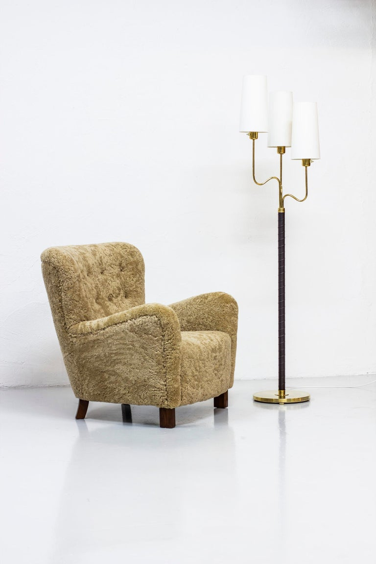 Brass and Leather Floor Lamp by Hans Bergström, Sweden, 1940s 1
