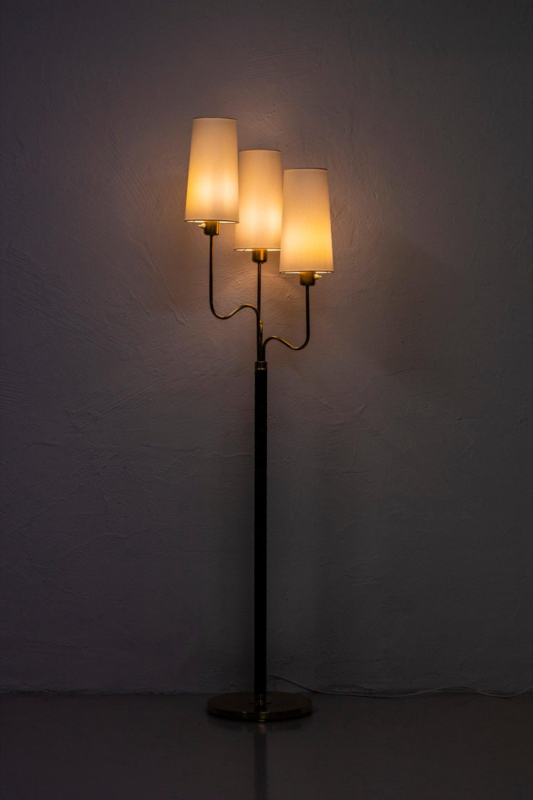 Brass and Leather Floor Lamp by Hans Bergström, Sweden, 1940s 2