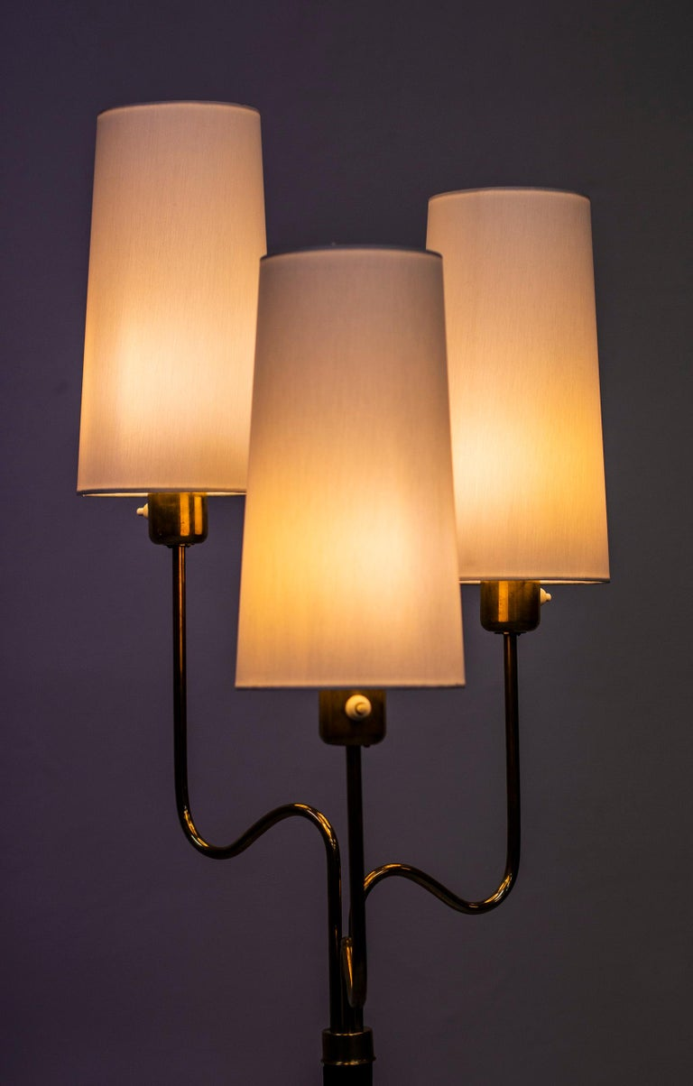 Brass and Leather Floor Lamp by Hans Bergström, Sweden, 1940s 3