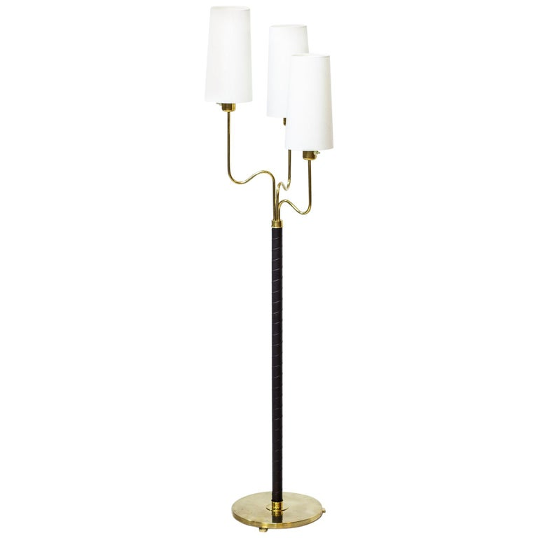 Brass and Leather Floor Lamp by Hans Bergström, Sweden, 1940s