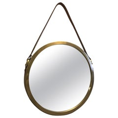 Brass and Leather Strap Mirror Style of Jacques Adnet