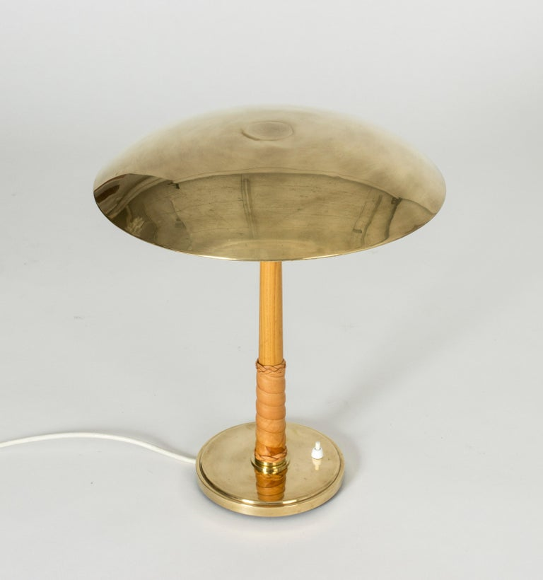 Mid-20th Century Brass and Leather Table Lamp by Bo Notini For Sale