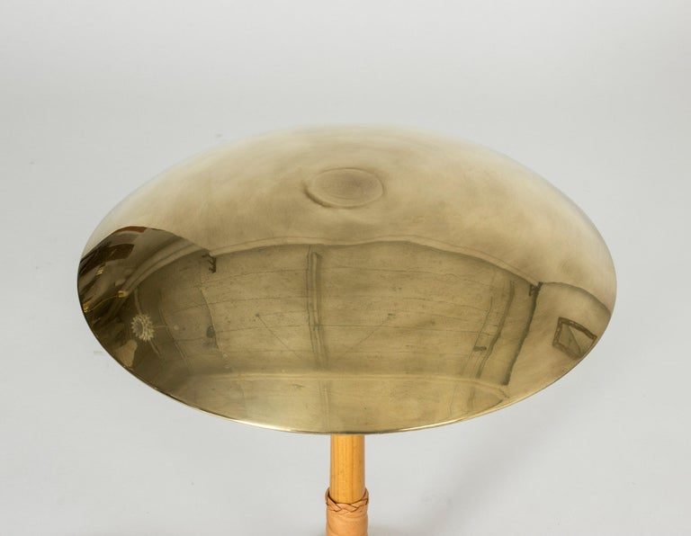 Brass and Leather Table Lamp by Bo Notini For Sale 1