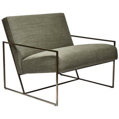 Brass and Linen Thin Frame Lounge Chair by Lawson-Fenning