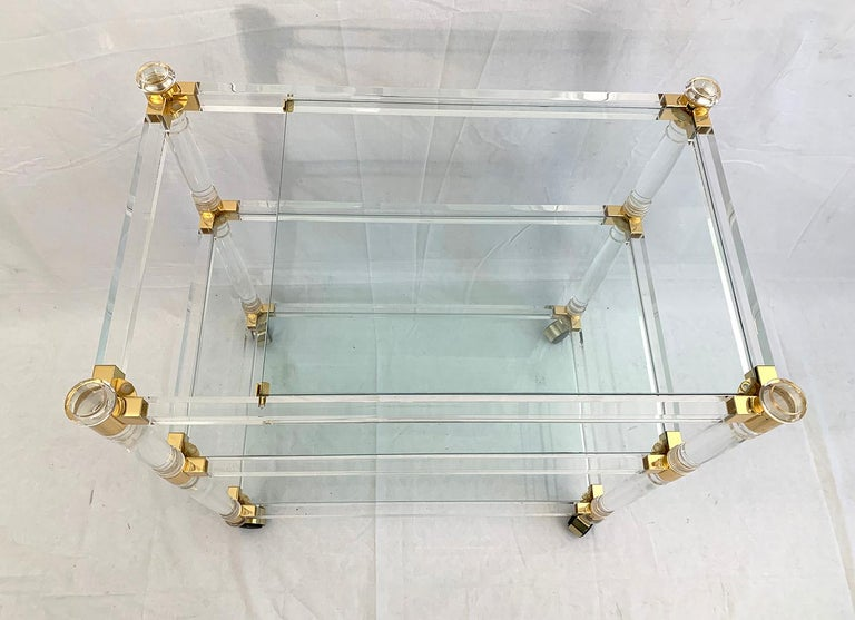 European Brass and Lucite Bar Cart or Trolley with Glass Top For Sale
