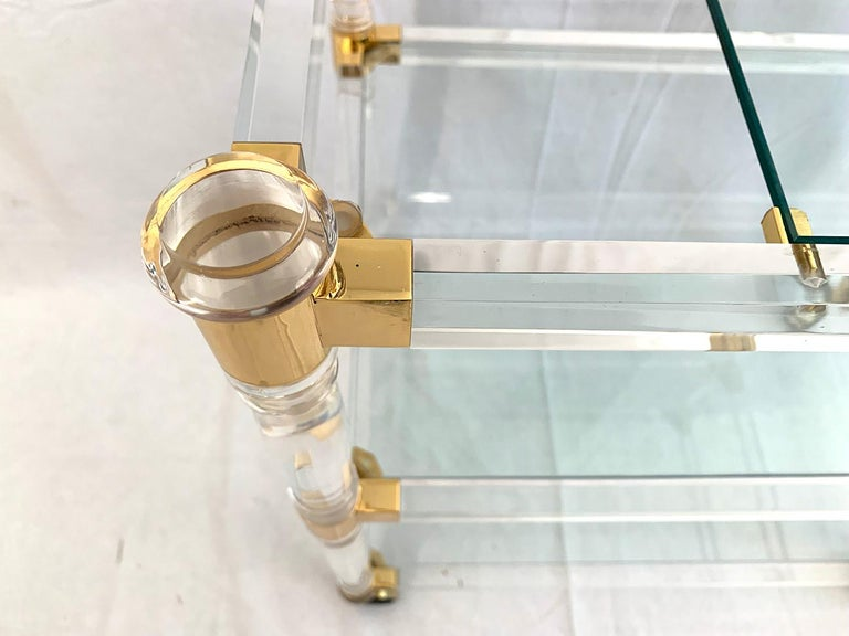 Gilt Brass and Lucite Bar Cart or Trolley with Glass Top For Sale
