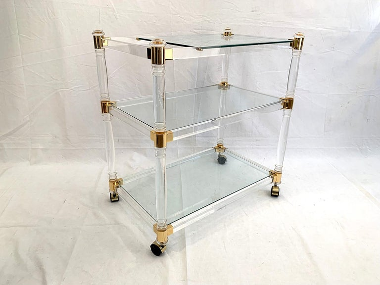 Late 20th Century Brass and Lucite Bar Cart or Trolley with Glass Top For Sale