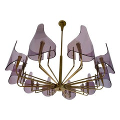 Brass and Lucite Chandelier by Stilux Milano, Italy, 1960s