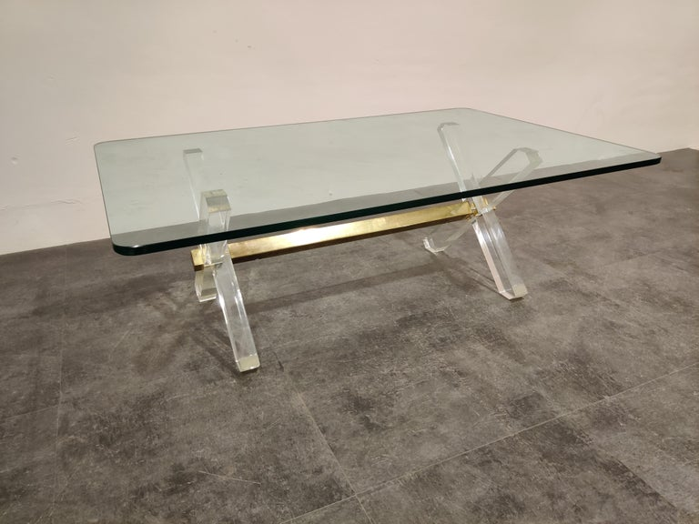 Hollywood Regency Brass and Lucite Coffee Table, 1970s For Sale
