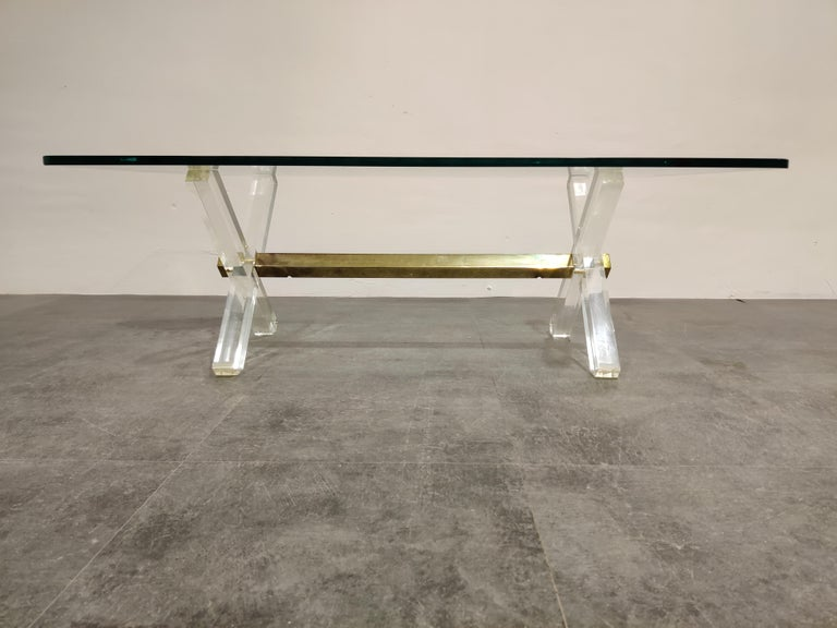 Late 20th Century Brass and Lucite Coffee Table, 1970s For Sale