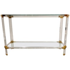 Brass and Lucite Console Table, 1970s