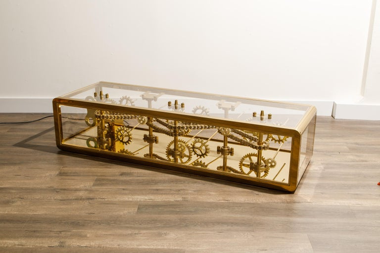 Brass and Lucite Display Coffee Table with Moving Gears For Sale 4