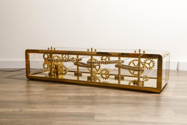 Brass and Lucite Display Coffee Table with Moving Gears For Sale 5