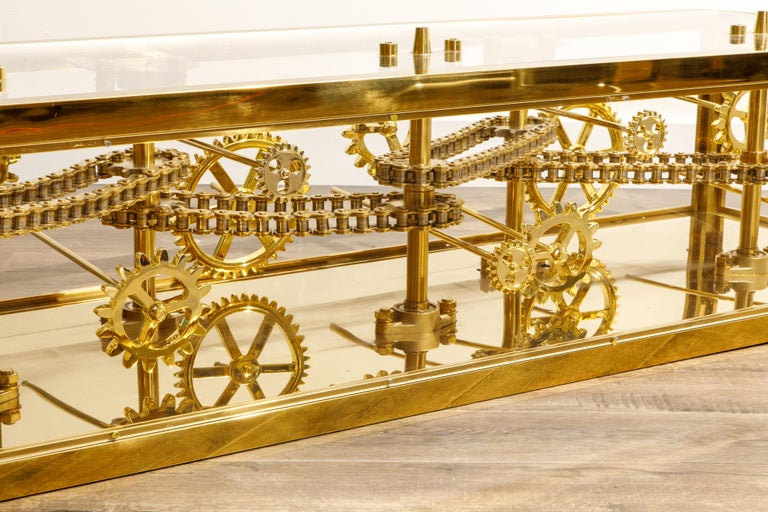 Brass and Lucite Display Coffee Table with Moving Gears For Sale 6