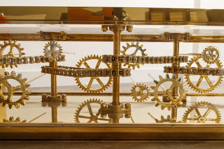 Brass and Lucite Display Coffee Table with Moving Gears For Sale 8